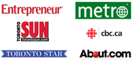 read about us in Entrepreneur Magazine, Metro, Toronto Sun, CBC.ca, Toronto Star, About.com
